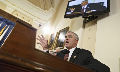 Rep. Brad Wenstrup, R-Ohio,questions officials from the Department of Veterans Affairs about allegations of gross mismanagement and misconduct at VA hospitals possibly leading to patient deaths, on Capitol Hill in Washington, Wednesday, May 28, 2014.
