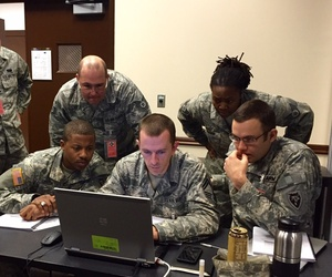 Soldiers gather at Camp Atterbury as part of the 2015 Cyber Shield exercise.