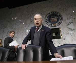 Senate Judiciary Committee Chairman Sen. Charles Grassley, R-Iowa arrives on Capitol Hill in Washington, Thursday, Jan. 29, 2015.