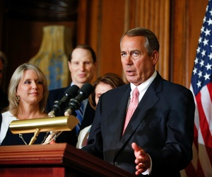 House Speaker John Boehner speaks during a press conference on Capitol Hill, on April 16, 2015.