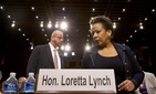 Attorney general nominee Loretta Lynch returns to Capitol Hill in Washington, Wednesday, Jan. 28, 2015, after a short break for her confirmation hearing before the Senate Judiciary Committee.