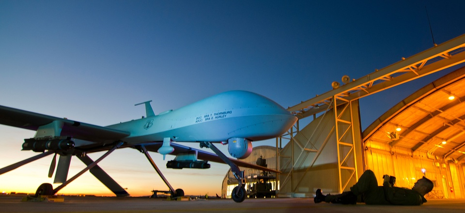 An MQ-1 Predator is shown during post-flight inspection at dusk from Southern California Logistics Airport, formerly George Air Force Base, in Victorville, Calif., Jan. 7, 2012.