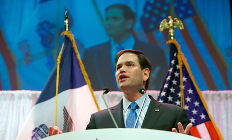 Republican presidential hopeful and iranian hardliner Sen. Marco Rubio, R-Fla., speaks in Waukee, Iowa, April 25, 2015.