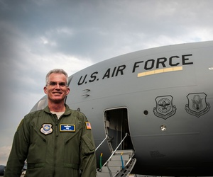 Gen. Paul Selva, Air Mobility Command commander, delivers a new C-17 Globemaster III April 25, 2013, at Joint Base Charleston – Air Base, S.C.