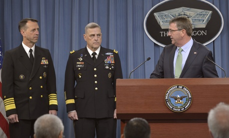 Secretary of Defense Ash Carter hosts a press conference to announce the nomination of Navy Adm. John M. Richardson, left, to chief of Naval Operations and Army Gen. Mark Milley, second from left, as as Army Chief of Staff.