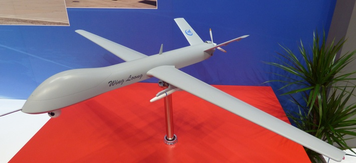 A model of the Chinese made Wing Loong drone, seen at the IDEX 2015 in Abu Dhabi, U.A.E.