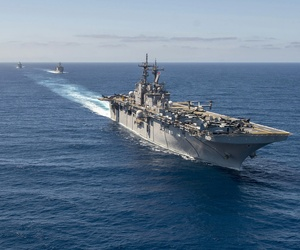 The USS Essex, USS Rushmore and USS Anchorage conduct a simulated strait transit, on March 23, 2015