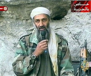 In this Oct. 7, 2011 file photo, Osama bin Laden is seen at an undisclosed location in this television image.