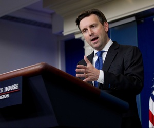 White House press secretary Josh Earnest speaks during the daily news briefing at the White House in Washington, Friday, May 22, 2015.