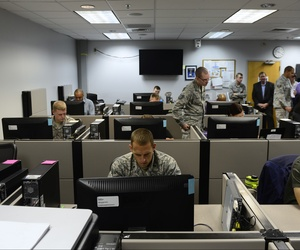 Students of the Network War Bridge Course participate in a class exercise conducted by the 39th Information Operations Squadron, Hurlburt Field, Fla., Sept. 19, 2014.