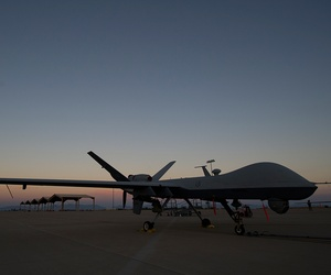 An MQ-9 Reaper sits at New Mexico's Holloman Air Force Base in 2014.