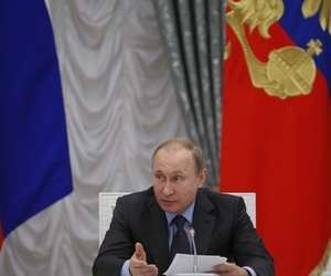 Russian President Vladimir Putin speaks during a meeting of the presidential council on science and education at the Kremlin in Moscow, Russia, Wednesday, June 24, 2015.