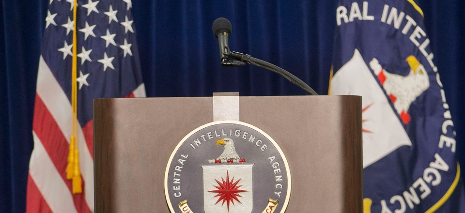 The stage and podium are seen set up before the start of CIA Director John Brennan's news conference at CIA headquarters in Langley, Va., Thursday, Dec. 11, 2014.