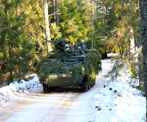 The U.S. Army's Iron Troop, 3rd Squadron from the 2nd Cavalry Regiment fight a mock battle with the Estonian Defence Force, 1st Brigade, at Tapa training grounds in Estonia.