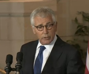 Defense Secretary Chuck Hagel speaks during an anniversary marking the 50th anniversary of the Vietnam War.