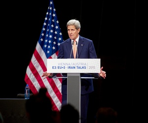 U.S. Secretary of State John Kerry addresses an international press corps gathered at the Austria Center in Vienna, Austria, on July 14, 2015.
