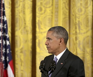 President Barack Obama listens to a question about the Iran nuclear deal during a news conference in the East Room of the White House in Washington, Wednesday, July 15, 2015.
