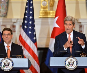 U.S. Secretary of State John Kerry addresses reporters during his joint press conference with Cuban Foreign Minister Bruno Rodríguez after their bilateral meeting at the U.S. Department of State in Washington, D.C., on July 20, 2015.