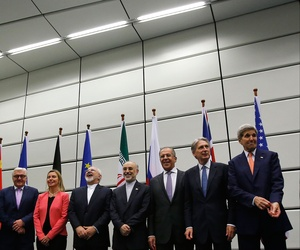 The Iran nuclear deal negotiating parties pose for a group photo at the United Nations building in Vienna, Austria, Tuesday July 14, 2015.