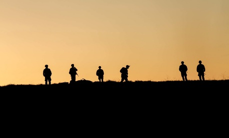 Marines with Battalion Landing Team 3rd Battalion, 1st Marine Division, 15th Marine Expeditionary Unit conduct a leaders' reconnaissance during Amphibious Squadron/Marine Expeditionary Unit Integration Training aboard Camp Pendleton, Calif.,March 15, 2015