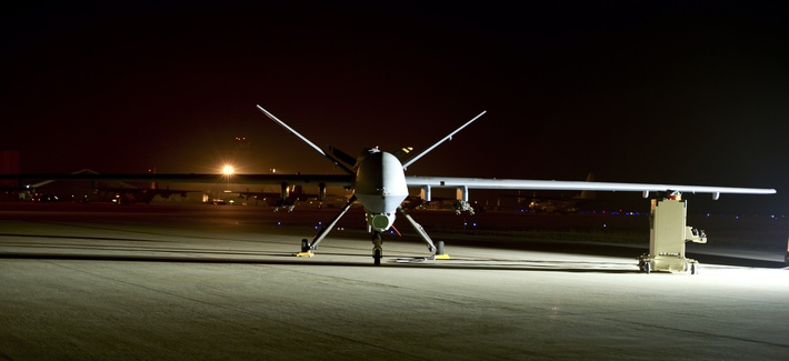 An MQ-9 Reaper sits on the flight line at Hurlburt Field, Fla., April 24, 2014.