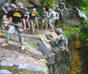 Soldiers participate in rappel training during the Ranger Course on Camp Merrill in Dahlonega, Ga.