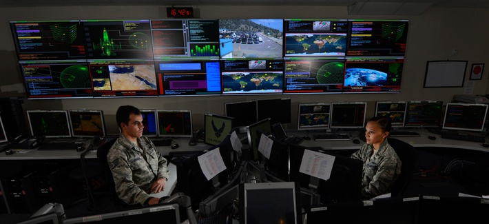 U.S. Airmen at the Global Strategic Warning and Space Surveillance System Center at Cheyenne Mountain Air Force Station, Colo., Sept. 2, 2014.