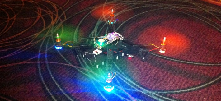 The Aerial Assault penetration testing drone on display at 2015's DEF CON in Las Vegas, Nev.