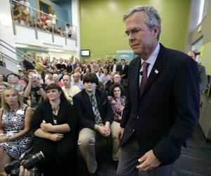 """Presidential candidate Jeb Bush said he was """"struggling"""" with whether he would renew limits to controversial interrogation techniques deemed torture, in Davenport, Iowa, on Aug. 13, 2015."""