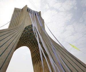 "Petition scrolls hang from the Azadi (Freedom) tower during a demonstration of a group of hard-liners demanding Iranian nuclear negotiators to sign a ""good deal"" with 5+1 countries that reserves rights of the Iranian nation, in Tehran, Iran, Tuesday, June"