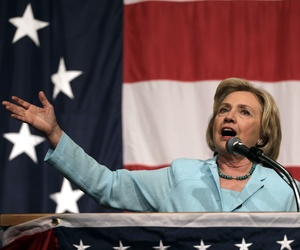 Hillary Clinton speaks at the Iowa Democratic Wing Ding, at the Surf Ballroom Friday, Aug. 14, 2015, in Clear Lake, Iowa.