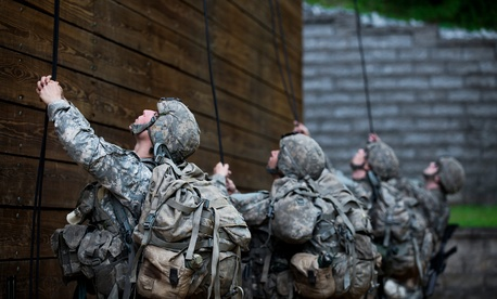 U.S. Army soldiers work through the Mountain Phase of the Ranger Course on Camp Merrill in Dahlonega, Ga., July 12, 2015.