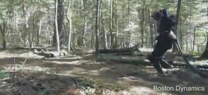 In this video, Atlas, a humanoid robot from Google subsidiary Boston Dynamics, shows off its ability to navigate rough terrain.