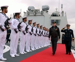 Chinese sailors render honors to Secretary of the Navy Ray Mabus in 2012.