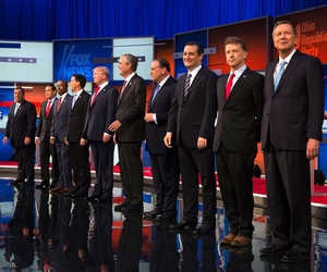 GOP candidates take the stage for the first Republican presidential debate at the Quicken Loans Arena Thursday, Aug. 6, 2015, in Cleveland.