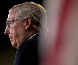 Senate Majority Leader Mitch McConnell of Ky pauses during a news conference on Capitol Hill in Washington, Thursday, Aug. 6, 2015, as the Senate began its summer recess.