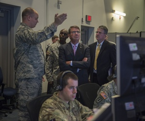 Secretary of Defense Ash Carter is given a tour of the Combat Operations Division as he visits Nellis Air Force Base Aug. 25.