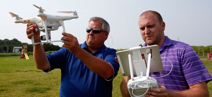 A drone demonstration at a farm and winery, on potential use for board members of the National Corn Growers, Thursday, June 11, 2015 in Cordova, Md.