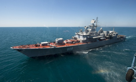 The Ukrainian navy frigate Hetman Sahaydachniy (U 130) transits the Black Sea during an underway exercise with USS Ross (DDG 71) June 2, 2015.
