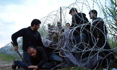 Syrian refugees cross into Hungary underneath the border fence on the Hungarian - Serbian border near Roszke, Hungary.