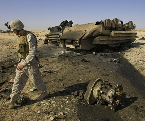 This vehicle was destroyed by a roadside bomb that killed 14 Marines and a civilian interpreter in Barwana, near Haditha, Iraq was the Iraq War's deadliest IED strike at that time. Aug. 4, 2005.