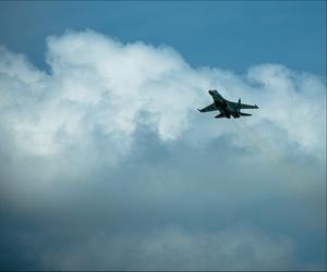 """Sukhoi Su35 demonstration at Paris Air Show """"Le Bourget""""."""