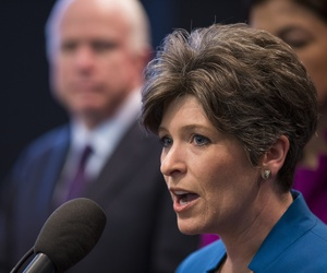Sen. Joni Ernst, R-Iowa, speaks in support of retaining the A-10 military aircraft, Tuesday, May 5, 2015, during a news conference on Capitol Hill in Washington.