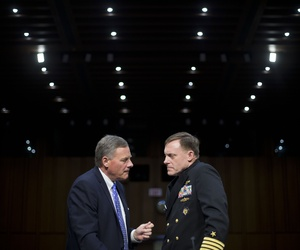 Senate Intelligence Committee Chairman Sen. Richard Burr, R-N.C., left, talks with Director of the National Security Agency (NSA) Adm. Michael Rogers on Capitol Hill, Thursday, Sept. 24, 2015, prior to Rogers testifying before the committee.