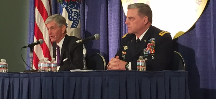 Army Secretary John McHugh and Army Chief of Staff Gen. Mike Milley talk Monday at AUSA.