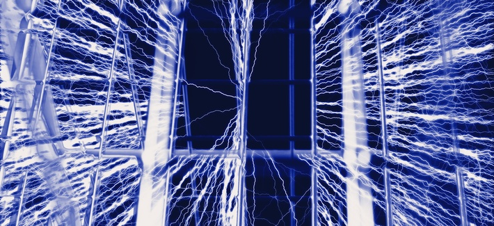 an artistic representation of a Faraday cage