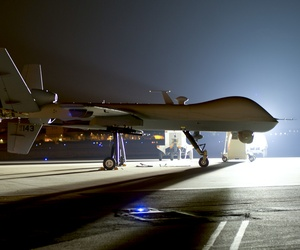 An MQ-9 Reaper sits on the flight line at Hurlburt Field Fla., April 24, 2014.