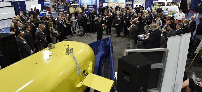 Rear Adm. Mat Winter, chief of naval research, holds a press conference at the joint Office of Naval Research (ONR), Naval Research Laboratory (NRL) and Marine Corps Warfighting Laboratory (MCWL) exhibit.