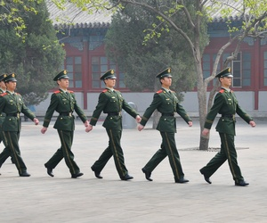 Chinese guards in Tiananmen Square.
