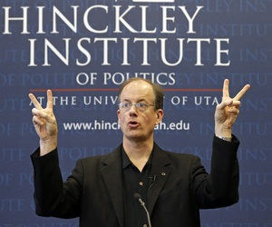 Thomas Drake, a former National Security Agency senior executive who leaked information to the media, addressees the University of Utah's Hinckley Institute of Politics Thursday, April 10, 2014, in Salt Lake City.